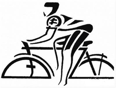 小孩骑自行车的简笔画