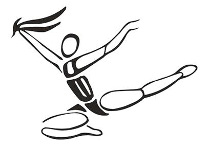 """图中的自由体操运动员是由一句四字成语组成,你能看出是哪四字成语吗? (登录轨客网""""考一考""""栏目查找答案)"""
